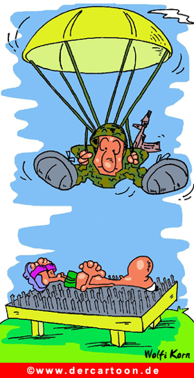 Fallschirmspringer und Joga Cartoon gratis - Lustige Bilder, Cartoons kostenlos
