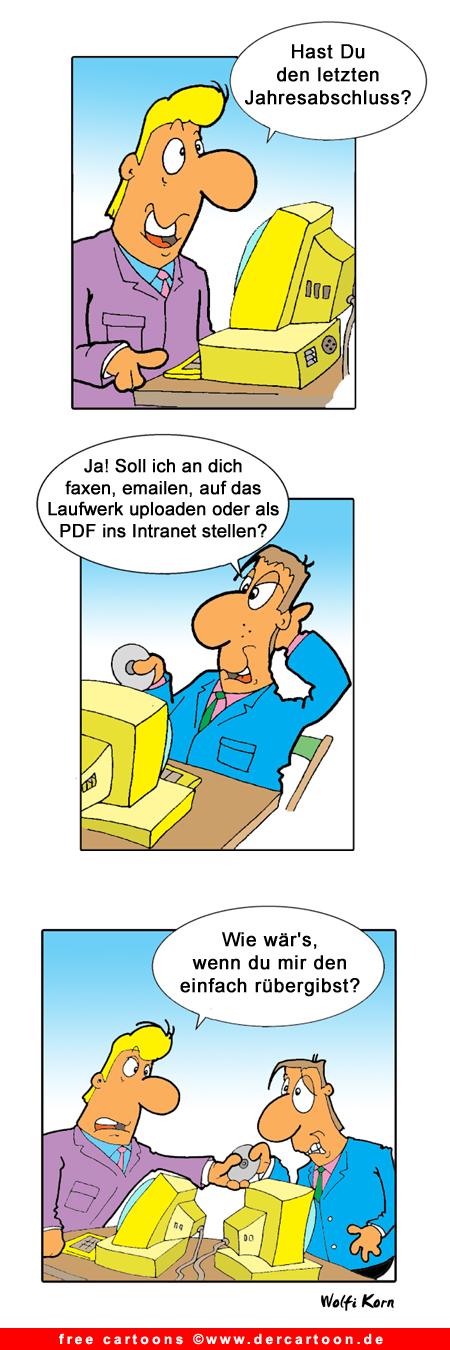 Free Cartoon im Buero - Lustige Bilder, Cartoons kostenlos