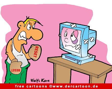 Computer Karikatur kostenlos - Reset - Lustige Bilder, Cartoons kostenlos