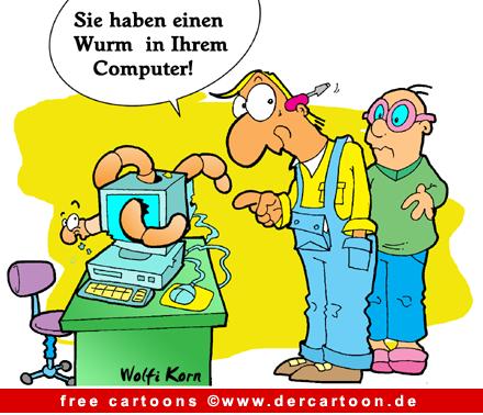 Computerwurm - Computer Karikaturen - Lustige Bilder, Cartoons kostenlos