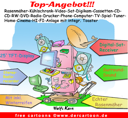 IT Cartoon Kuehlschrank gratis - Lustige Bilder, Cartoons kostenlos