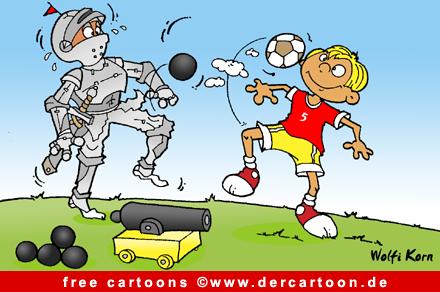 Ritter Karikatur - Fussball Karikaturen und Witze gratis - Lustige Bilder, Cartoons kostenlos