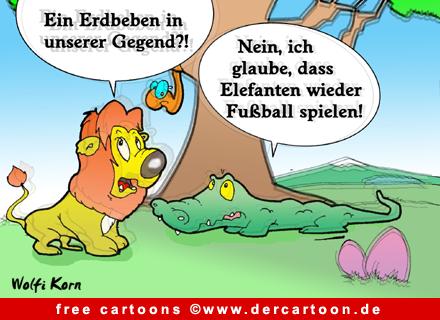 Fussball in Dschungel Cartoonbild kostenlos - Lustige Bilder, Cartoons kostenlos