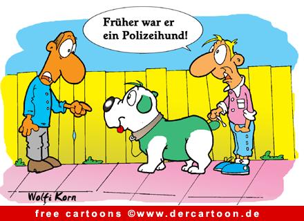 Polizeihund Bild-Cartoon kostenlos - Lustige Bilder, Cartoons kostenlos
