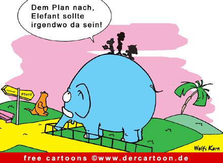Elefant im Zoo Cartoon - Lustige Bilder, Cartoons kostenlos