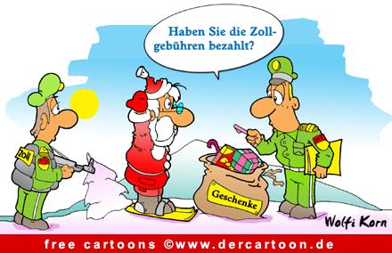 Weihnachten Cartoon Zoll und Weihnachtsmann - Lustige Bilder, Cartoons kostenlos