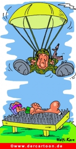 Fallschirmspringer und Joga Cartoon gratis