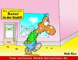 Free Cartoon Schnellste Rasur in der Stadt