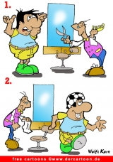 Friseur Cartoon gratis Fussballfan - Witze Friseur