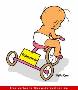 Baby am Fahrrad Cartoon free - Fahrschule Cartoon
