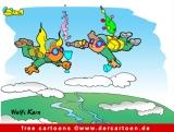 Fallschirmspringer trinken Sekt Cartoon kostenlos
