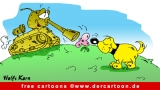 Panzer und Hund Karikatur - kostenlose Karikaturen online